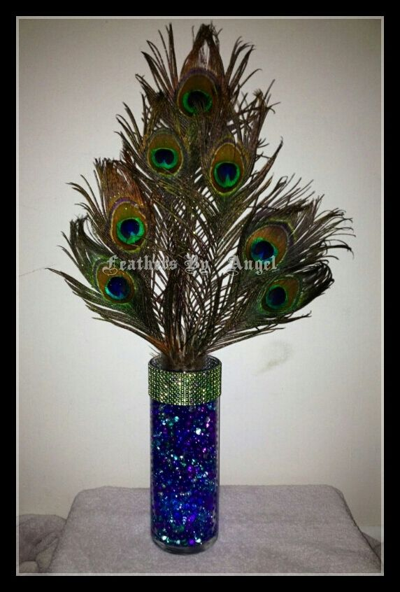 Peacock feather centerpiece custom made for client www - Peacock arrangements weddings ...