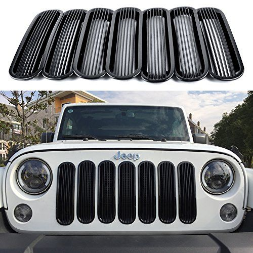 Opar New Cool Bars Style Black Trim Grill Insert Cover Mesh Frame For 2007 2015 Jeep Jk Wrangler 7 Pieces Jeep Wrangler Jeep Jeep Accessories