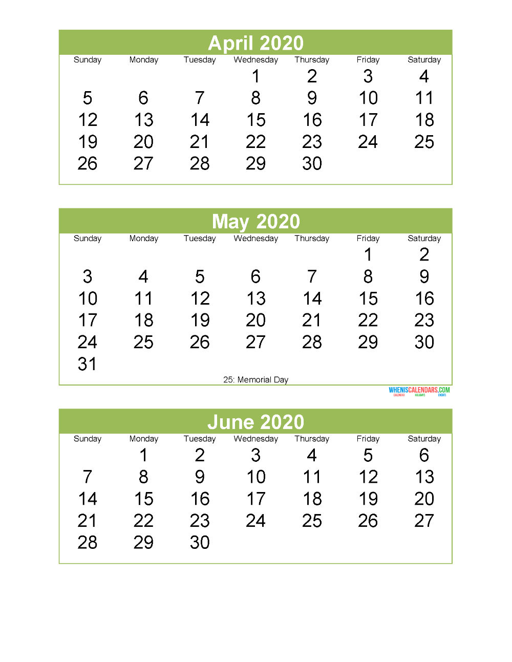 Free Printable 3 Month Calendar 2020 April May June Free Printable 2020 Calendar Templates Calendar Template Calendar Printables 3 Month Calendar