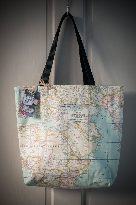 Large oilcloth map of the world tote bag lined with grey fabric on large oilcloth map of the world tote bag lined with grey fabric on etsy 2500 gumiabroncs Images