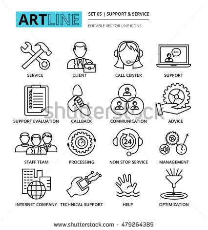 Modern editable line vector illustration, set of internet company services and…