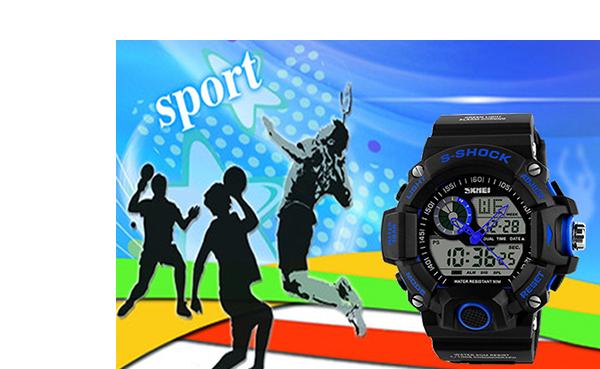 LED Digital Date Alarm Waterproof Sports Analog Watch Wristwatch Blue