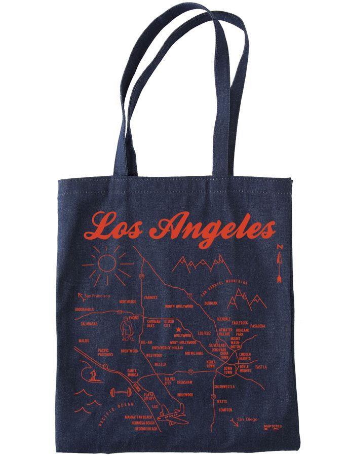 Los Angeles Denim Tote / Map Tote