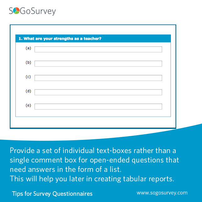 Tips For Survey Questionnaires If Respondents Are Expected To Respond With A List Of Items To An Open Ended Ques Online Surveys Surveys Survey Questionnaire