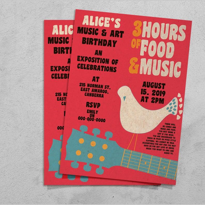 70s Theme Party Invites, Hippie Theme Party Invitation, Sixties Theme Party Invitations, Hippie Party Theme Ideas, Woodstock Theme Party