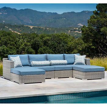 Niko Modular Seating Set In Slate By Sirio Left And Right Armless Chairs,  Corner ChairCoffee Table And OttomanAll Weather Woven Resin Wicker With  Sunbrella® ...