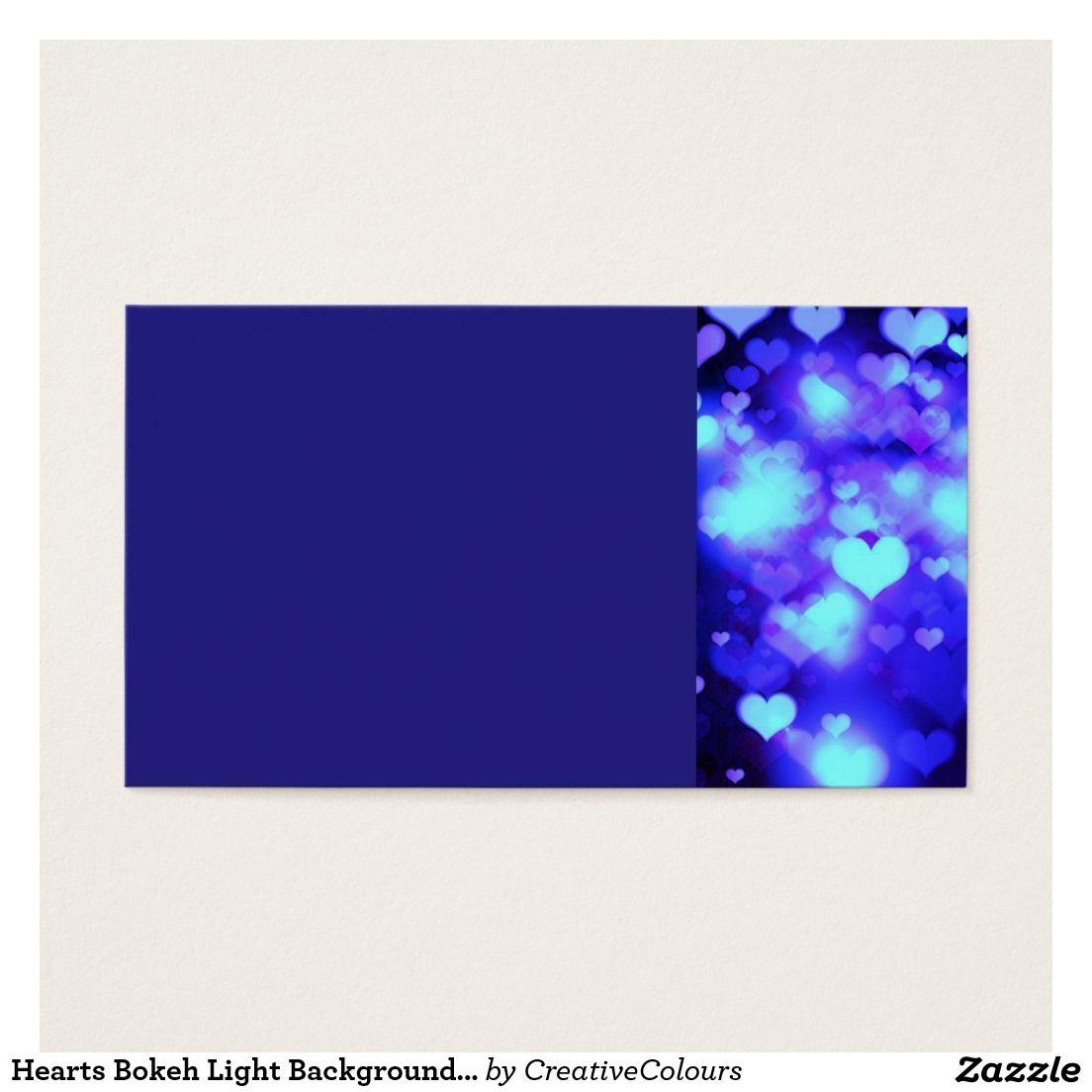 Hearts Bokeh Light Background blue Business Card | Bokeh lights ...