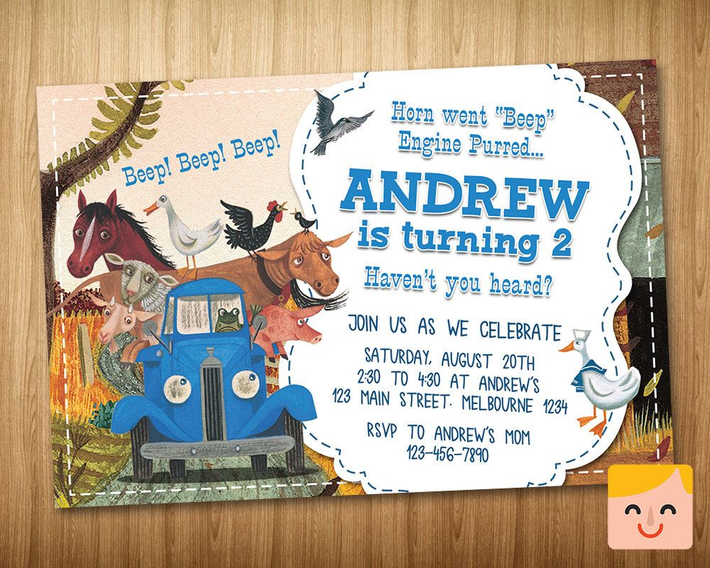 Little Blue Truck Invitation, Little Blue Truck Birthday, Party ...