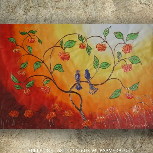 Apple Tree and two blue birds Large abstract painting 110x160 cm unstretched canvas art by artist Ksavera