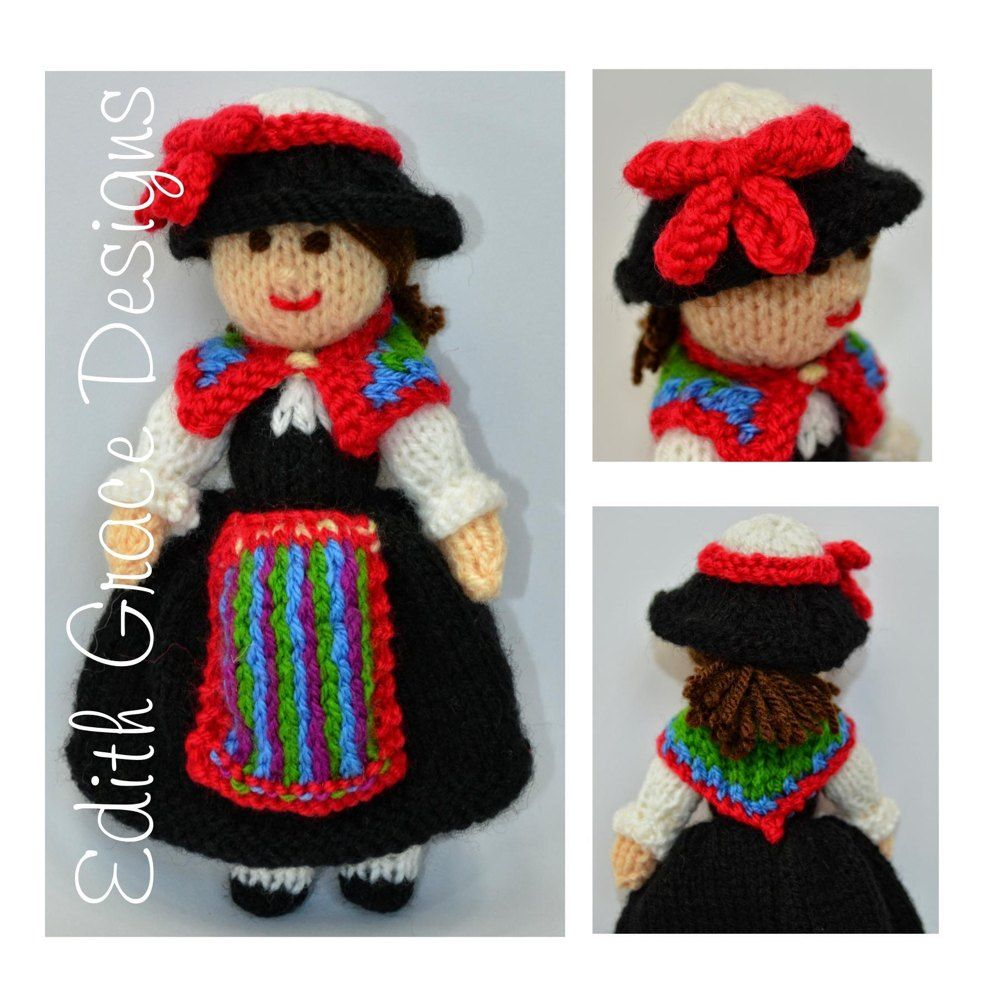 Swiss Folk Doll - Toy Knitting Pattern | Work flats, Knitting ...