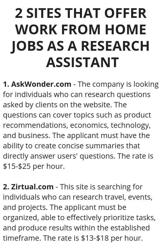 work from home job offers 2 sites that offer work from home jobs as a research 7851
