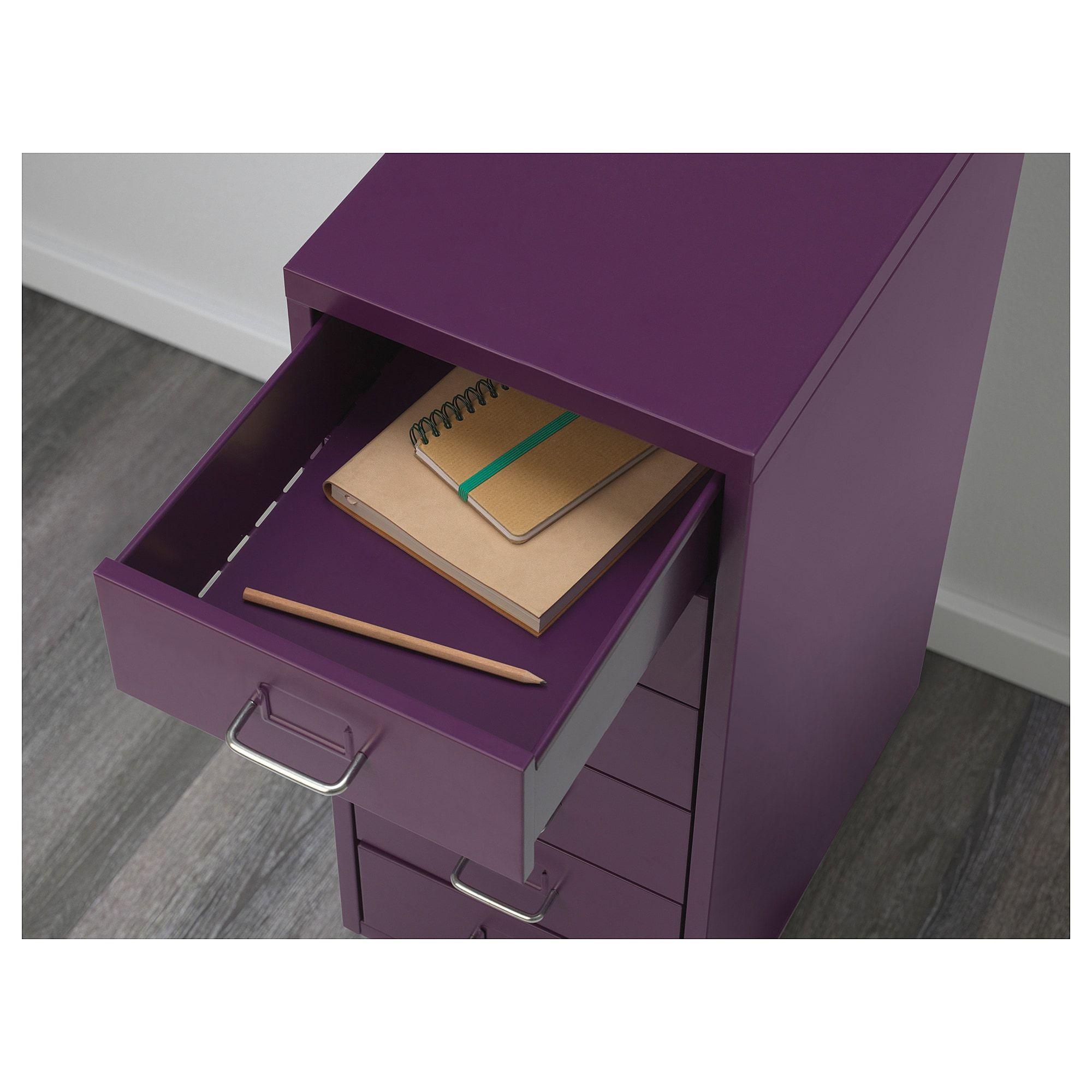 IKEA HELMER 6 Drawer Unit On Castors Home Office Cabinet Black//Blue//Purple//White