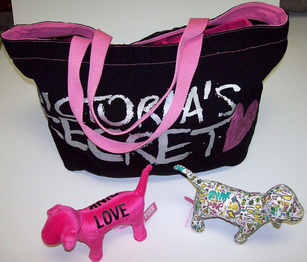 Victorias Secret Love Pink Black Graffiti Dog Black Tote Bag LOT Victoria's  #VictoriasSecret #TotesShoppers