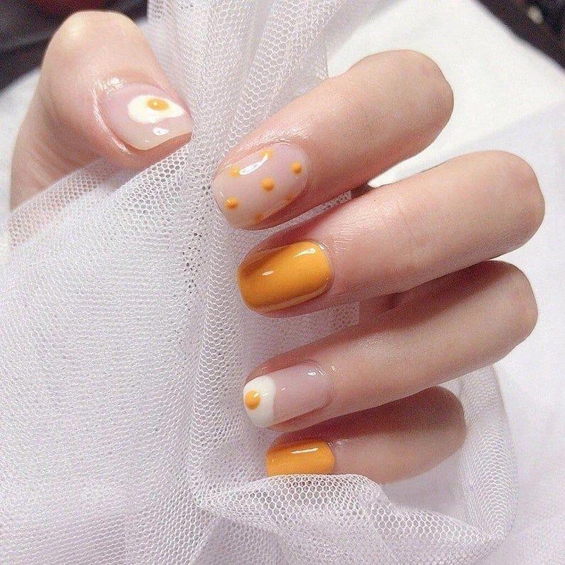 Hot egg taro orange,Coffin Nails- Fake Nails- False Nails- Faux Nails- Press on Nails- Press Ons- Stick on Nails- Glue on Nails- Matte Nails