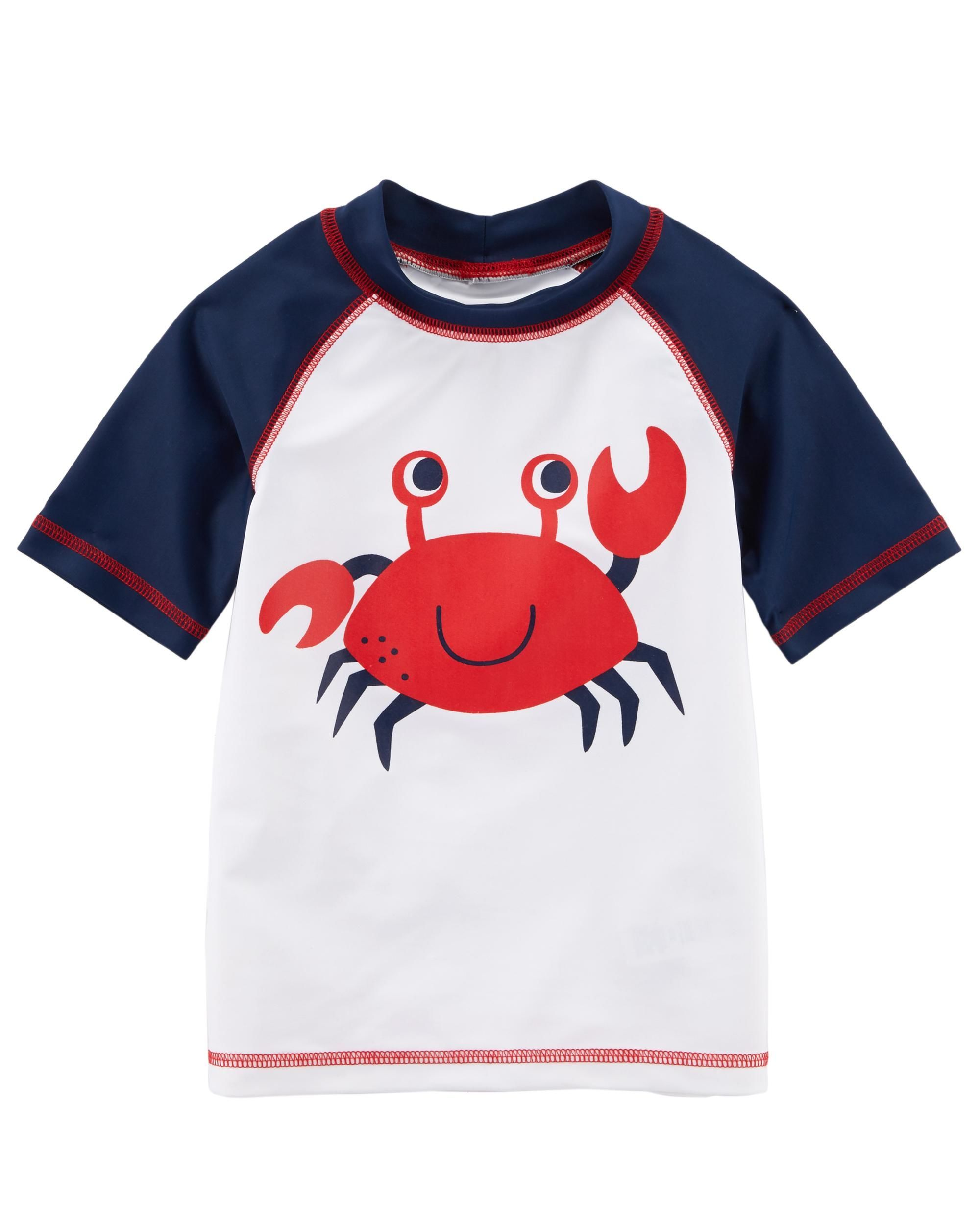 54a8ba368 Designed with raglan sleeves and quick-drying fabric, this crab rashguard  pairs with our striped swim trunks for the perfect beach day!