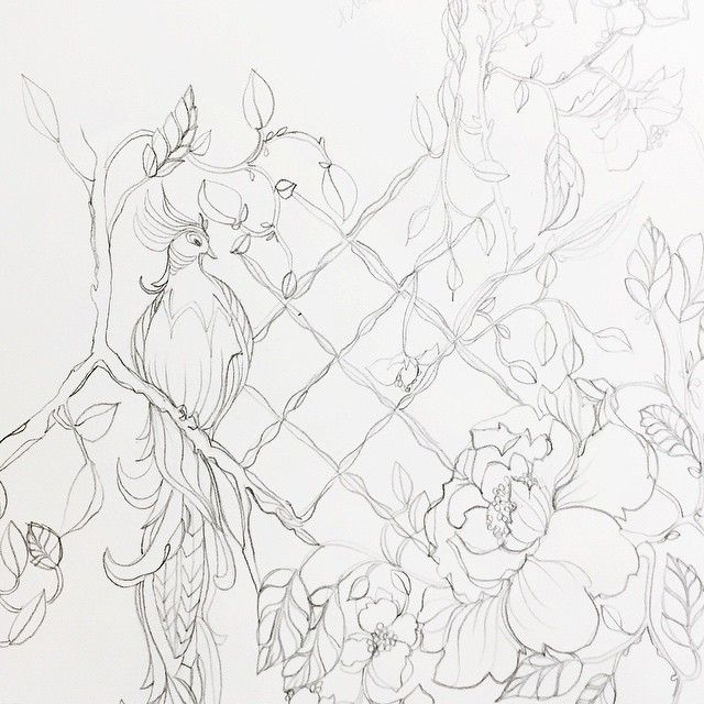 Chinoiserie.  Good night! #illustration #drawing #graphite #sketch #chinoiserie #author #onebooktwobooks