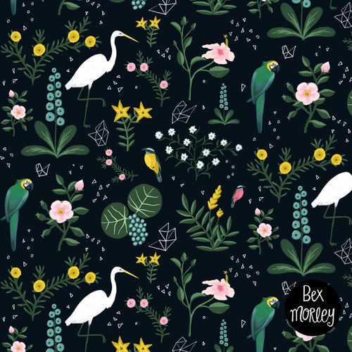 Tropical birds and flowers, repeat pattern design by Bex Morley