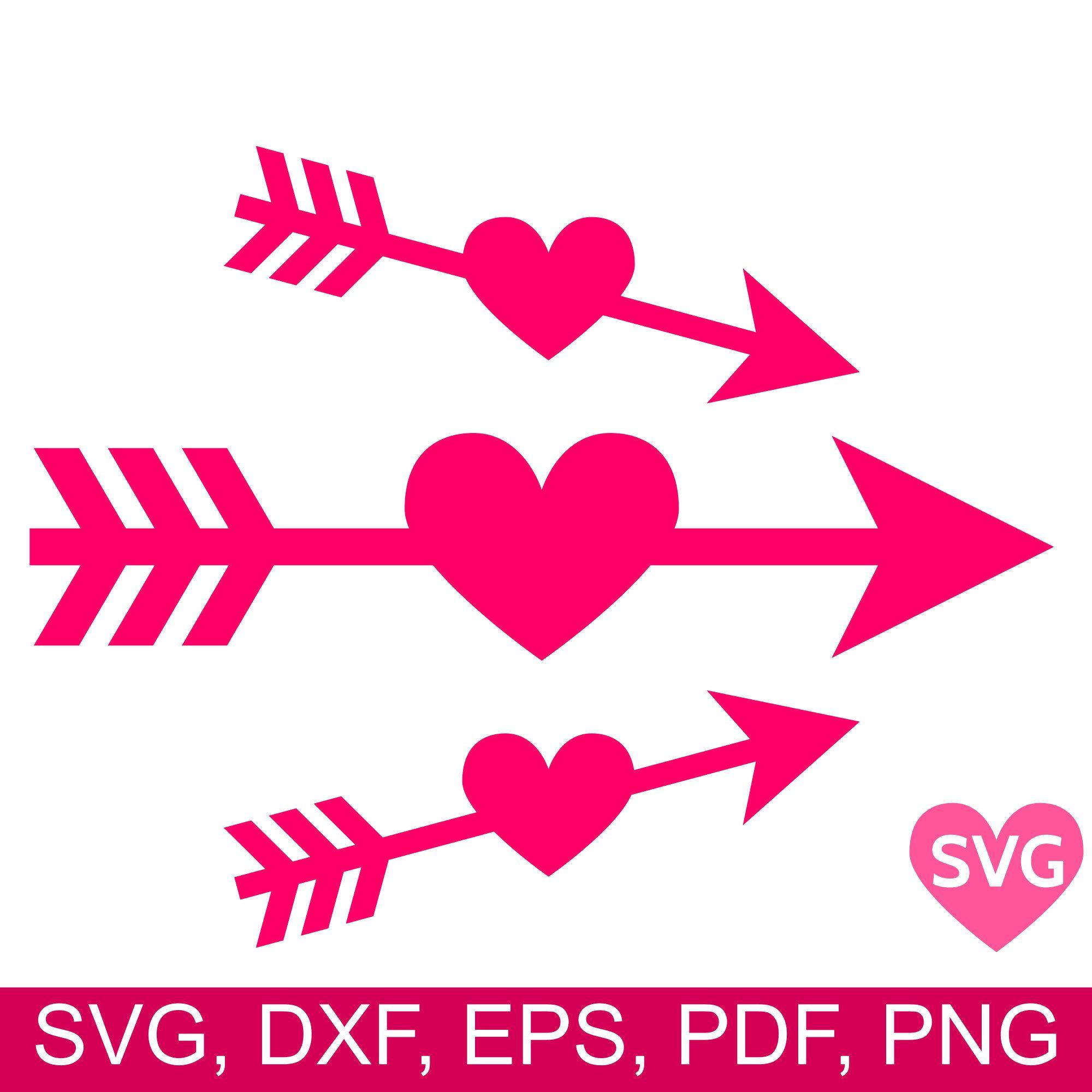 Heart Arrow SVG file, Love Arrow clipart cricut Heart