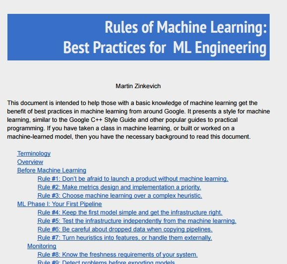 Rules of Machine Learning: Best Practices for ML Engineering