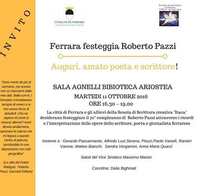 Martedì 11 ottobre Ferrara festeggia Roberto Pazzi
