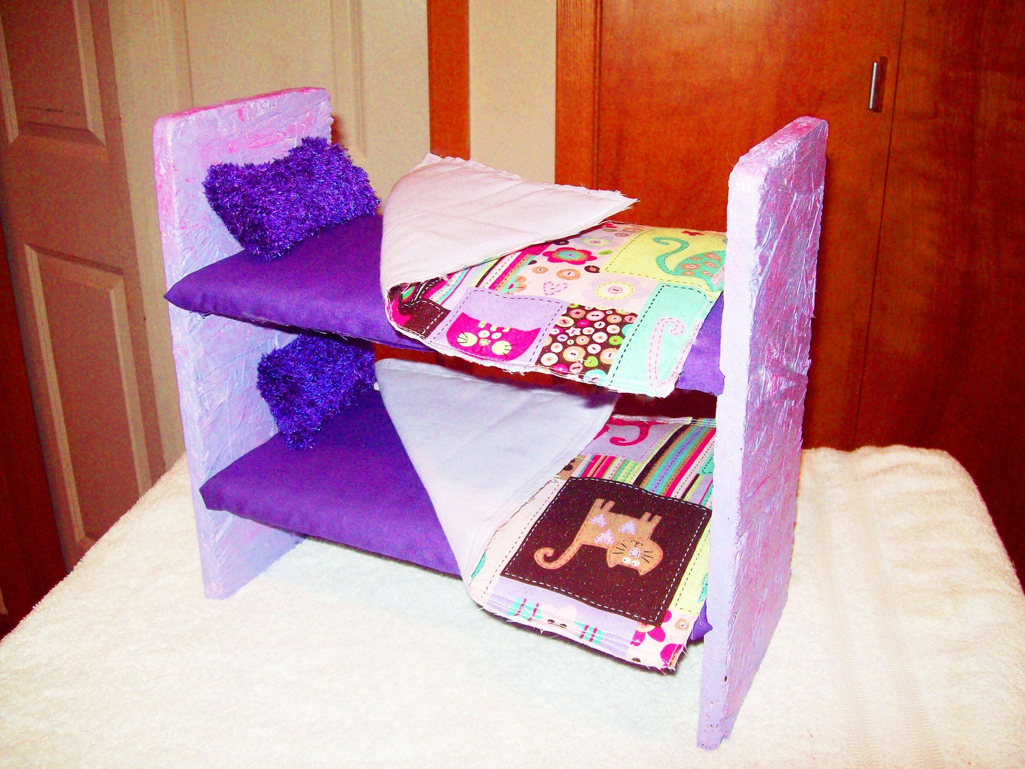 diy barbie dollhouse furniture. Barbie Bunk Bed Made This For My Daughter Out Of Wood Nails Cotton Diy Dollhouse Furniture N