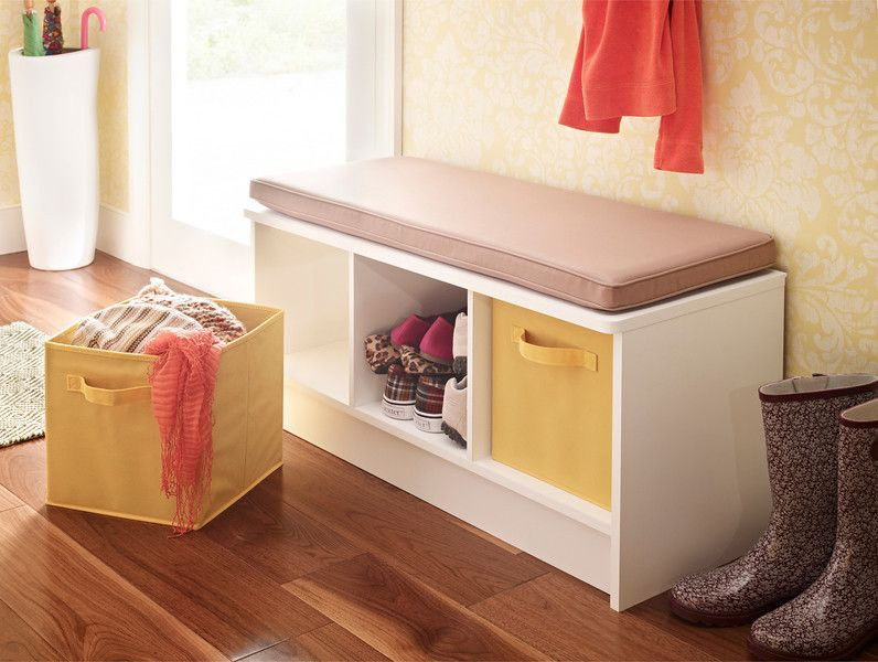 Add seating and storage to an entryway or mudroom with the ClosetMaid 3 Cube  Bench. - Add Seating And Storage To An Entryway Or Mudroom With The