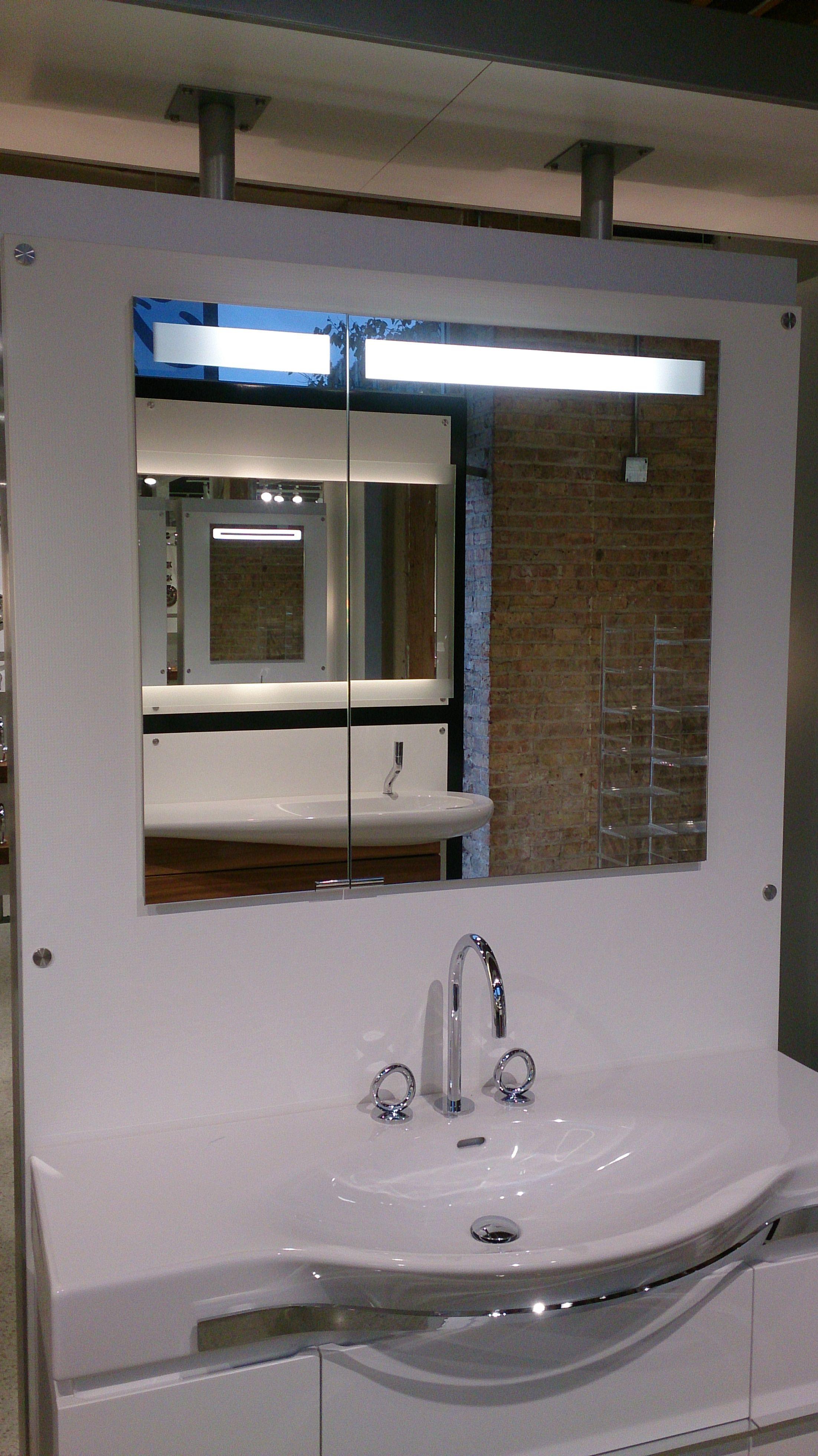 Offset Double Door 35 Wide Sidler Diamando Mirrored Cabinet With