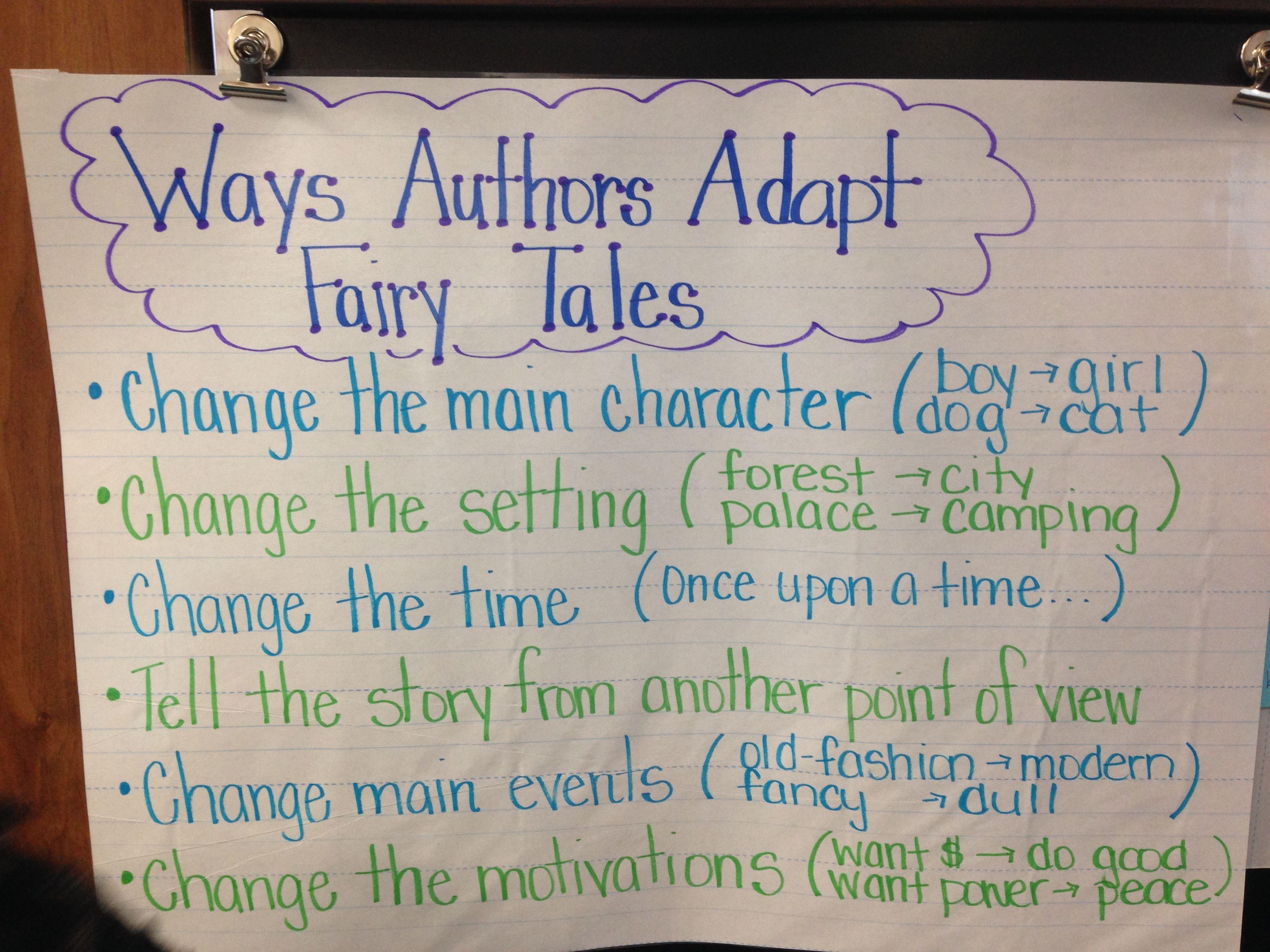 How To Write A Fairy Tale Adaptation Chart