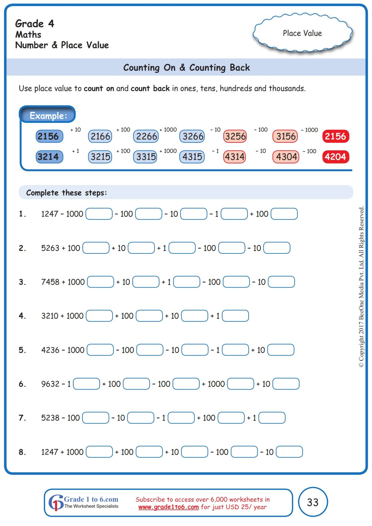 Worksheet Grade 4 Math Counting On & Counting Back in 2020