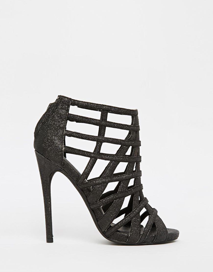 Zapatos negros de punta abierta Steve Madden para mujer 8NIfK