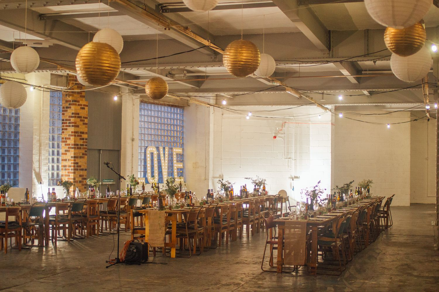 Lu Toms Urban Warehouse Wedding Sheffield Industrial Rustic Wooden Benches