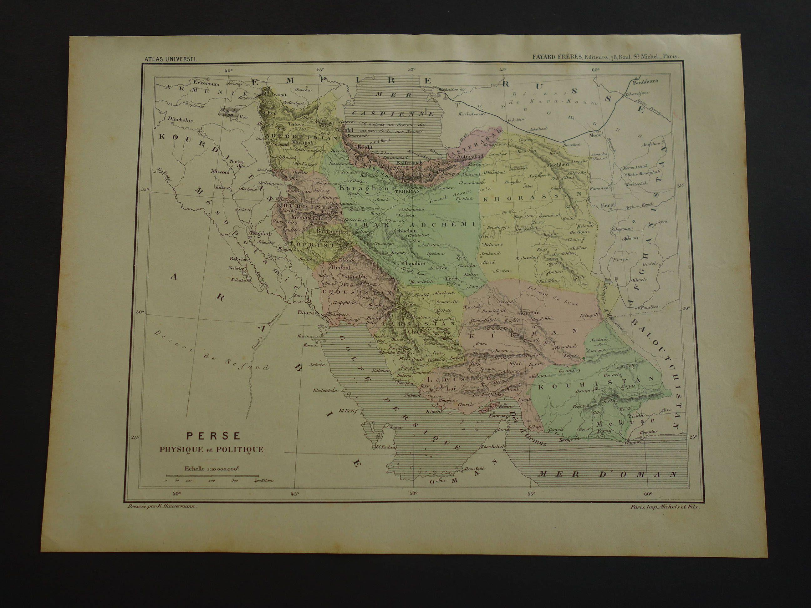 Oude kaart van PERZI van Perzi Iran