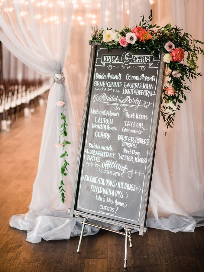 Pretty chalkboard wedding program: http://www.stylemepretty.com/2016/03/29/an-industrial-woodland-inspired-spring-wedding-at-sodo-park-seattle/ | Photography: Ryan Flynn Photography - http://ryanflynnphotography.net/