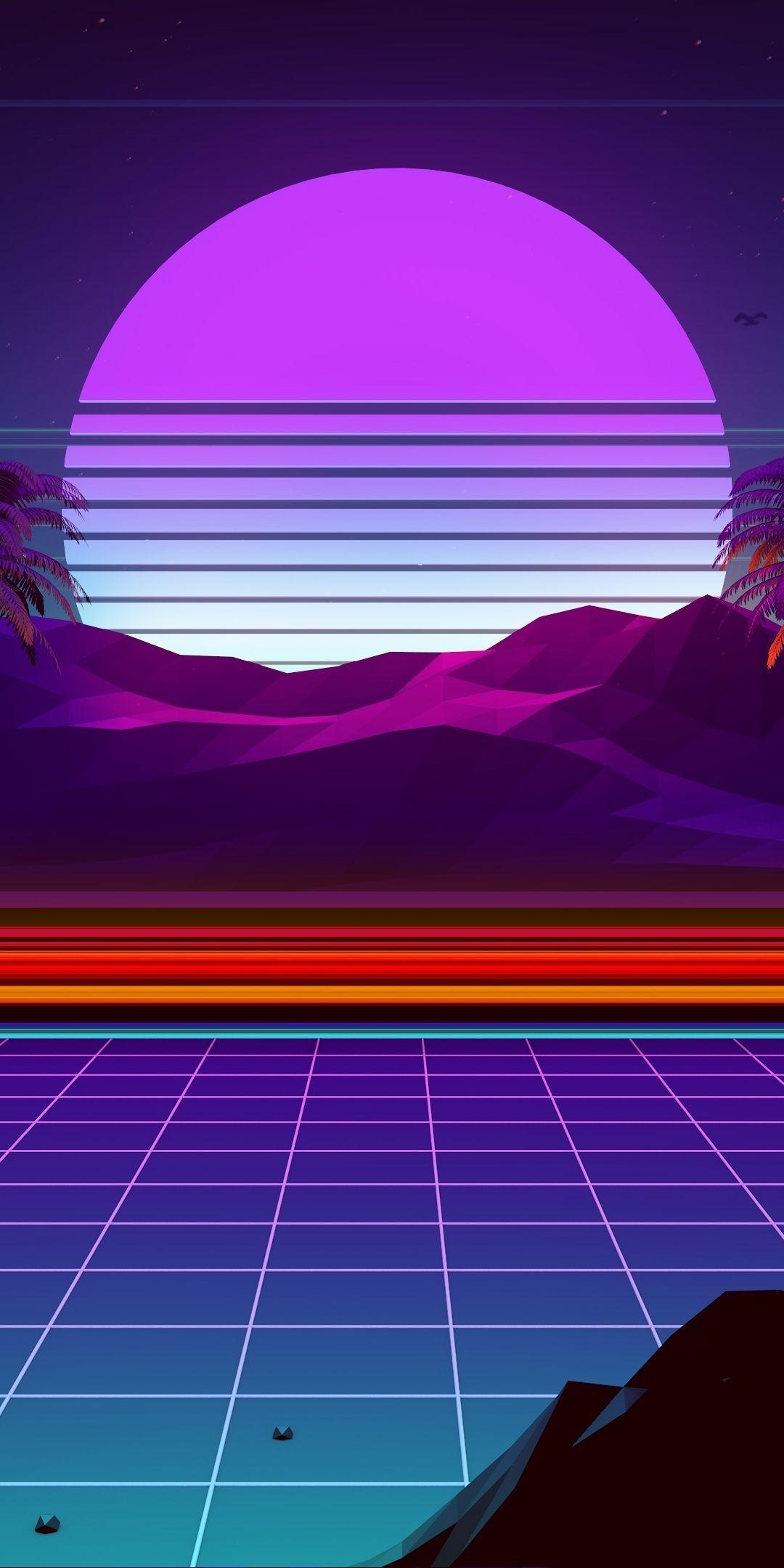 1080x2160 Night Moonlight Mountain Synthwave And Retrowave Digital Art Wallpaper Neon Artwork Vaporwave Wallpaper Retro Wallpaper