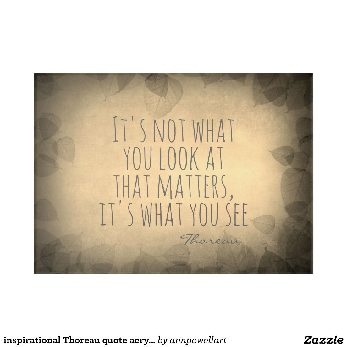 inspirational Thoreau quote acrylic panel print Acrylic Wall Art ...