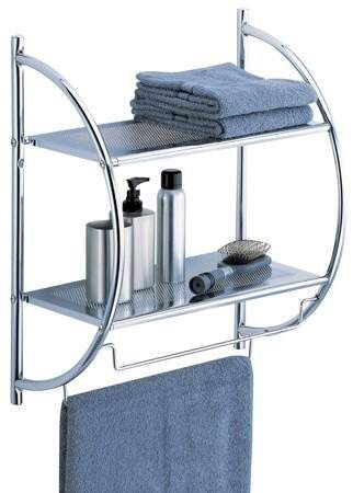 wall mount 2 tier chrome bathroom shelf with towel bars two tier rh pinterest com