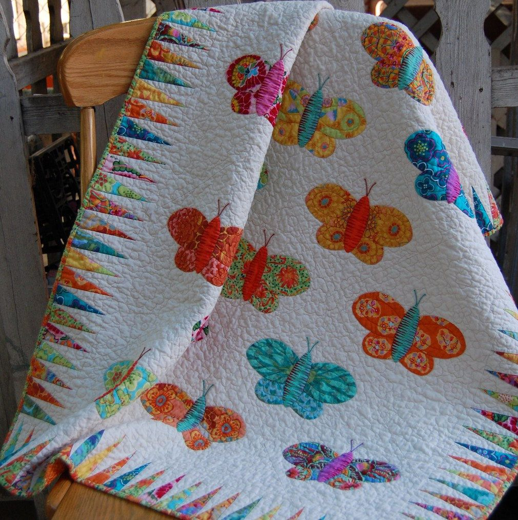 BRIGHT BUTTERFLY Hand Applique Quilt in Bright Summer Colors ... : butterfly applique quilt - Adamdwight.com