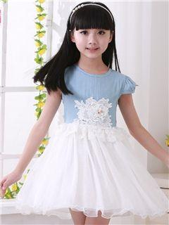bfe559543a9d6 Ericdress Sweet Simple Denim Lace Princess Dress | children's Wear ...
