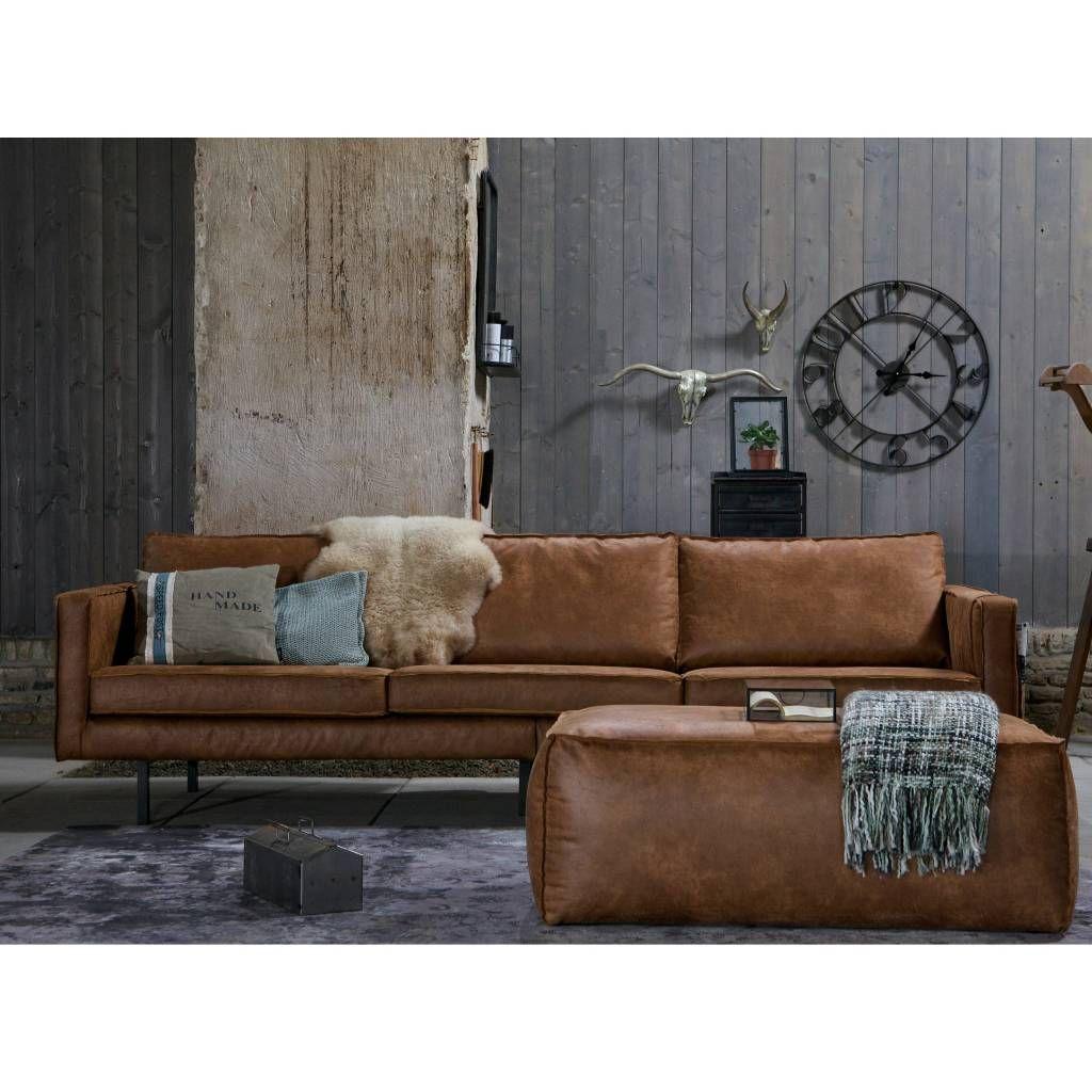 Bruine Suede Leren Bank.Bank Rodeo 3 Zits Cognac Bruin Leer 78x274x87cm Design