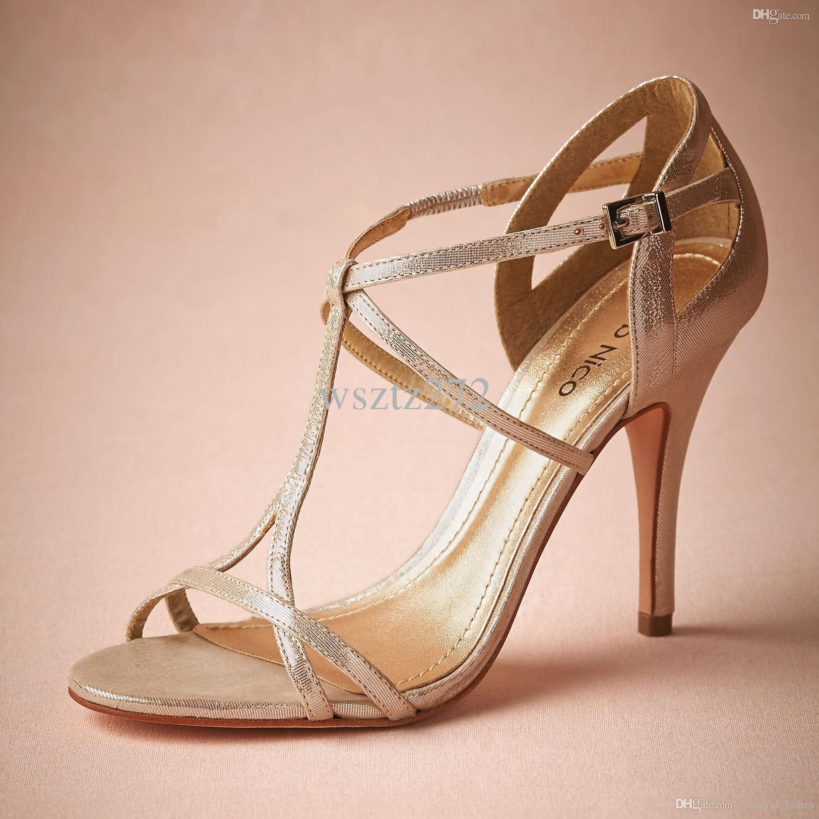 Elegant Champagne Wedding Shoes Wedding Pumps T-Straps Buckle ...