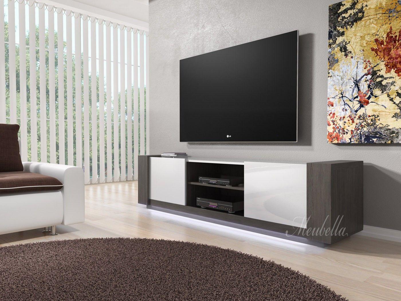 TV-Meubel Arulo met LED - Grijs eiken - Wit - 160 cm | Meubels ...