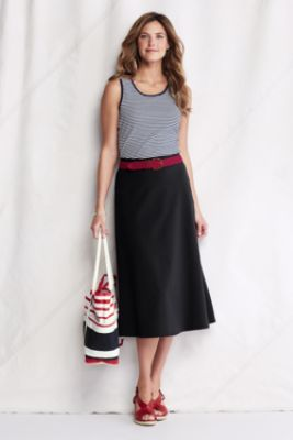 "Womens Knit A-line Midcalf Skirt from Lands End Available in Black, Mushroom, and Navy 29"" waist-to-hem, $29.00"