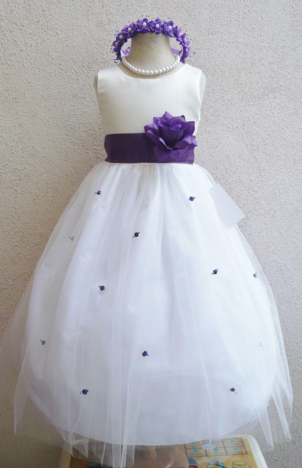Beautiful ivory purple fuchsia blue flower girl baby children party