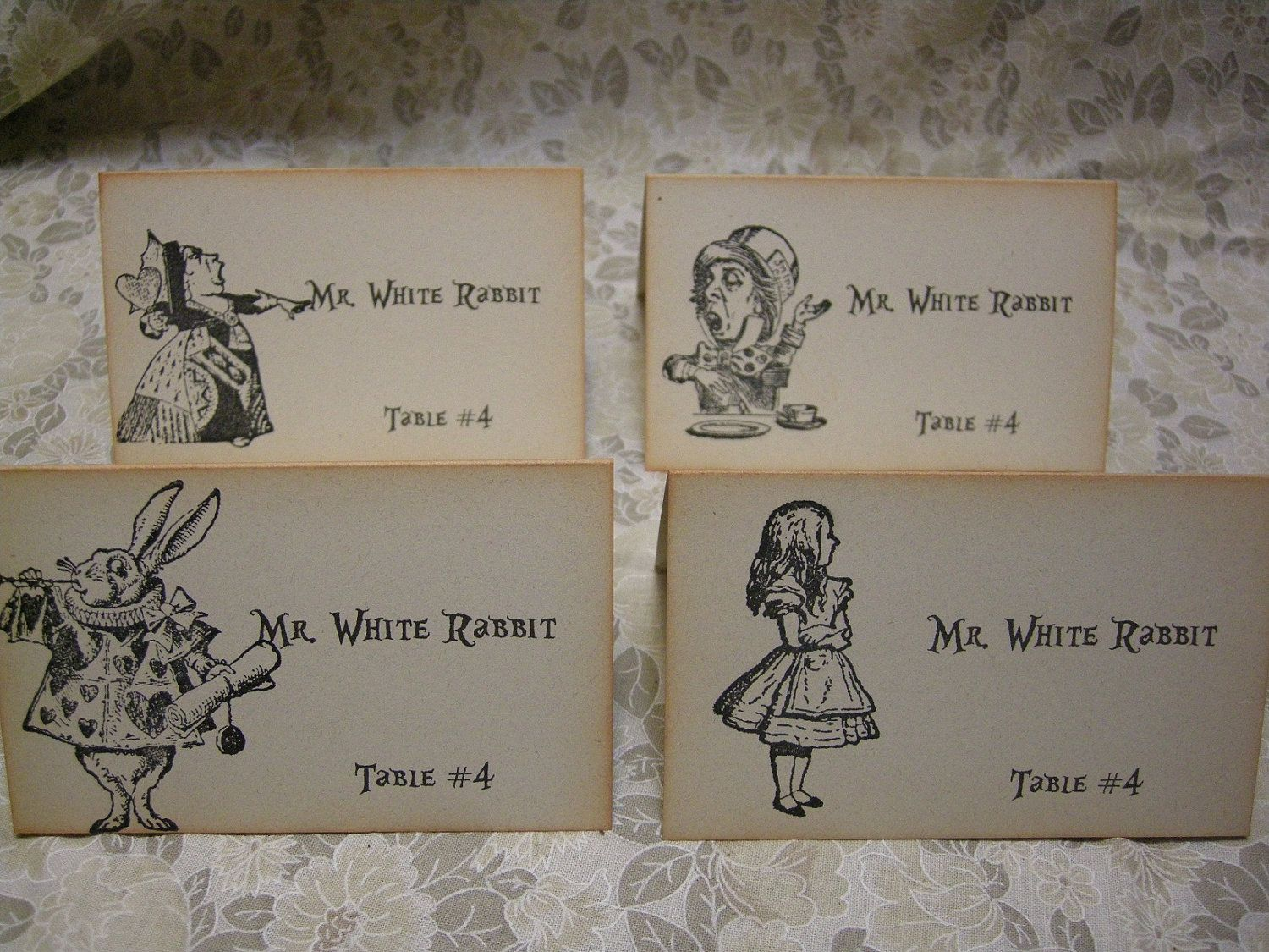 mad hatter teparty invitations pinterest%0A Alice in Wonderland Name Cards   Wedding place card   escort card   name  card    Red Queen  Mad Hatter  White Rabbit  Set of