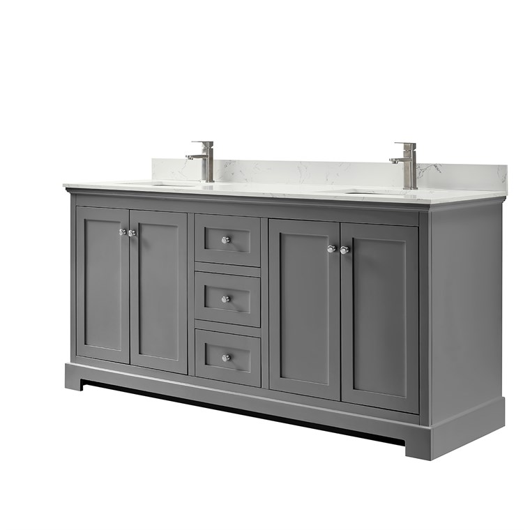 Ryla 72 Double Bathroom Vanity In Dark Gray Carrara Cultured Marble Countertop Undermount Square Sinks And No Mirror In 2020 Marble Vanity Tops Double Bath Square Sink