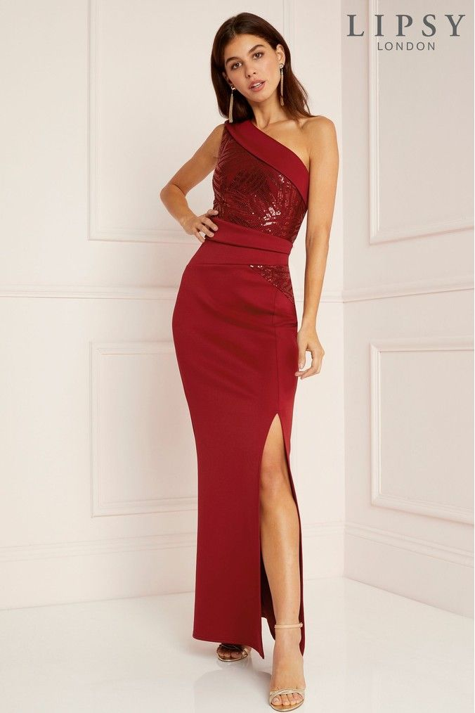 d57ea24e098e Womens Lipsy Sequin Panel One Shoulder Maxi Dress - Red | Products ...