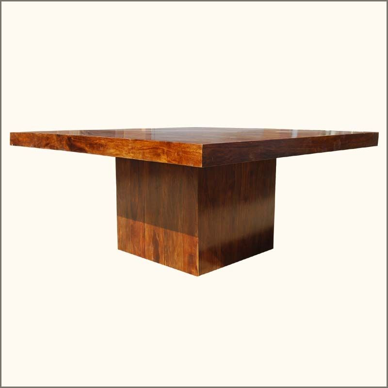 Solid Wood Modern Rustic Block Pedestal Square Dining Table Solid