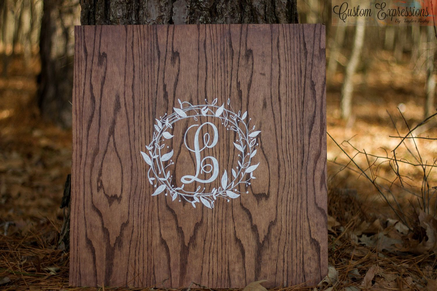 Beautiful monogrammed guest book, that doubles as artwork for your home. It is made of Cedar or pine, and stained with a red mahogany or coco stain, then distressed. its sealed with either varnish or mod-podge, depending on your finish preferences.