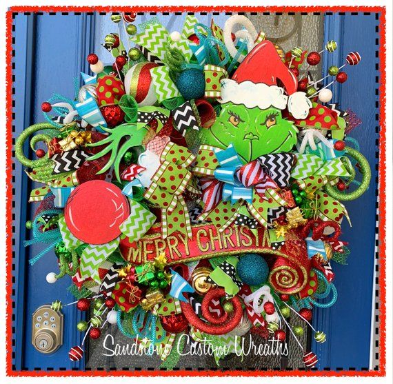 Christmas Wreath, Monster with gift Wreath, Holiday Wreath
