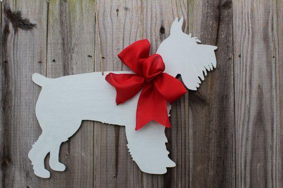 Photo of Schnauzer Dog Wooden Door Hanger